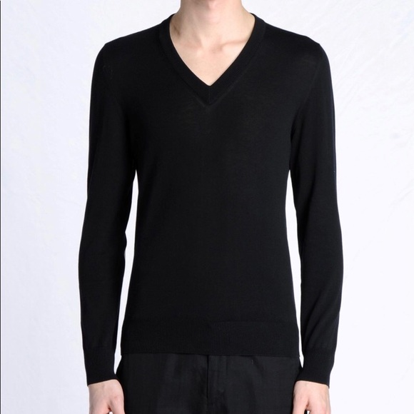 Margiela V-Neck Sweater with Leather Elbow Patches 907204e4f